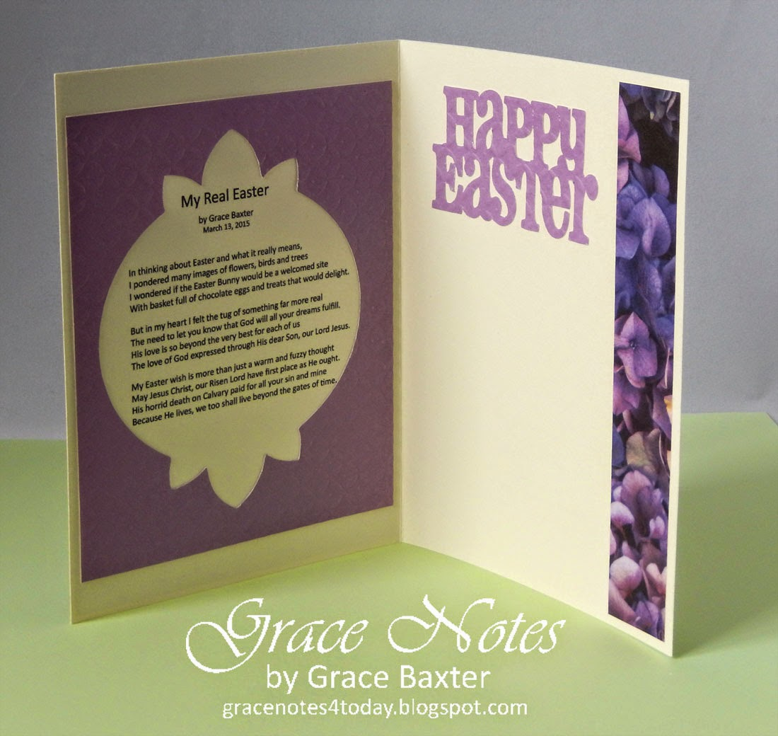 My Real Easter, poem and card by Grace Baxter