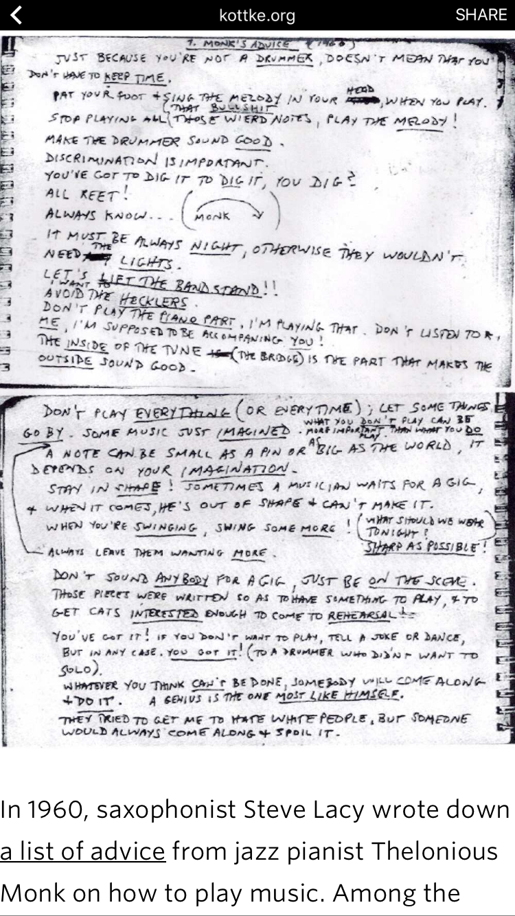 Thelonious Monk's Advice to Steve Lacy