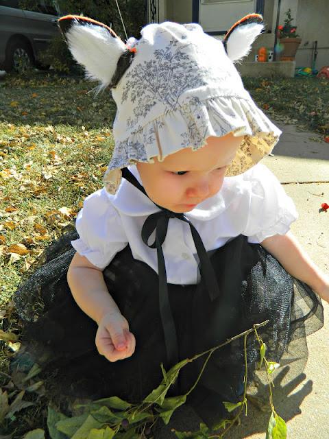 vintage handmade fox bonnet baby girl costume Just Peachy, Darling