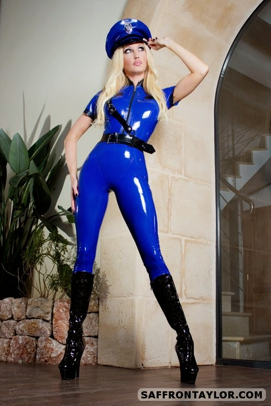 Sexy Cop Saffron Taylor in Blue Latex Catsuit and Boots, Hot Police Law Enforcement