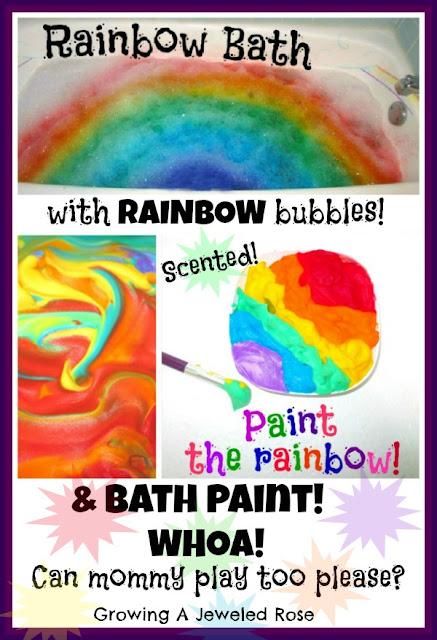 Rainbow bath time play Rainbow paint recipe