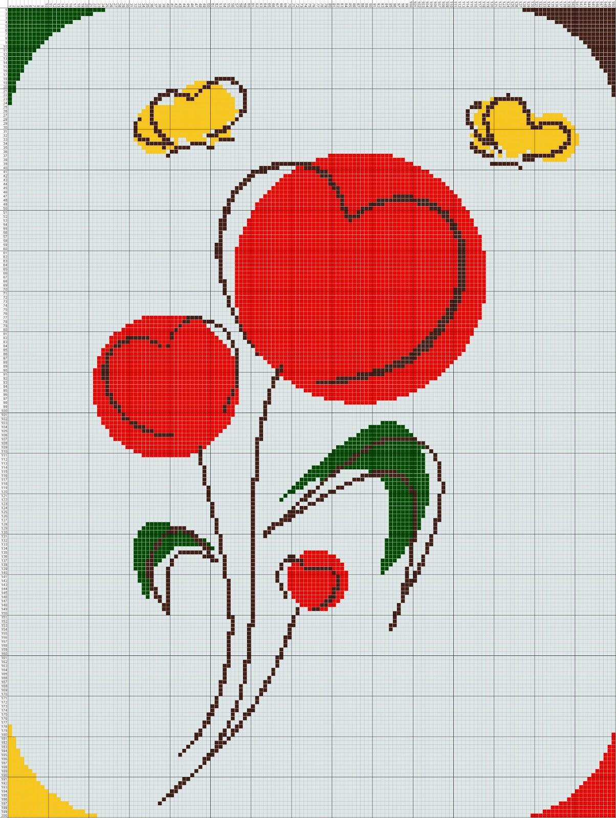 Gambar Pola Kristik Bunga Merah dan Kupu-Kupu