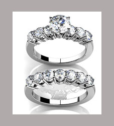 Anillo de compromiso con muchos diamantes
