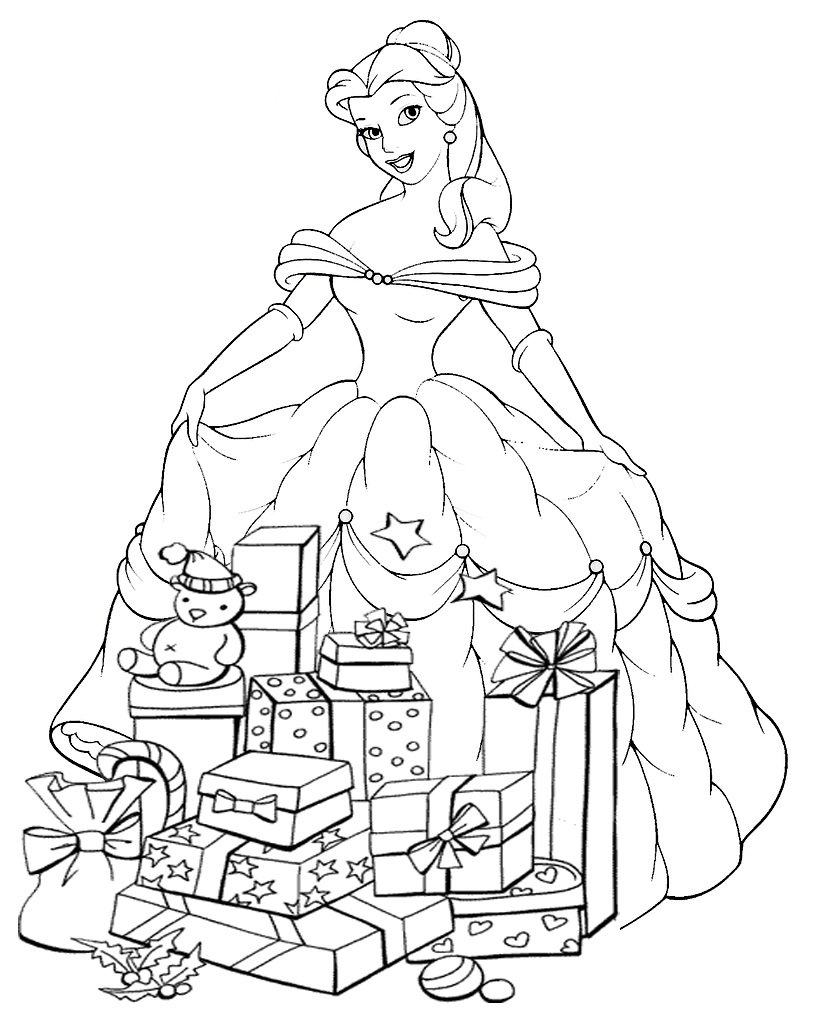 Free Printable Christmas Princess Coloring Pages : Princesas disney dibujos para colorear