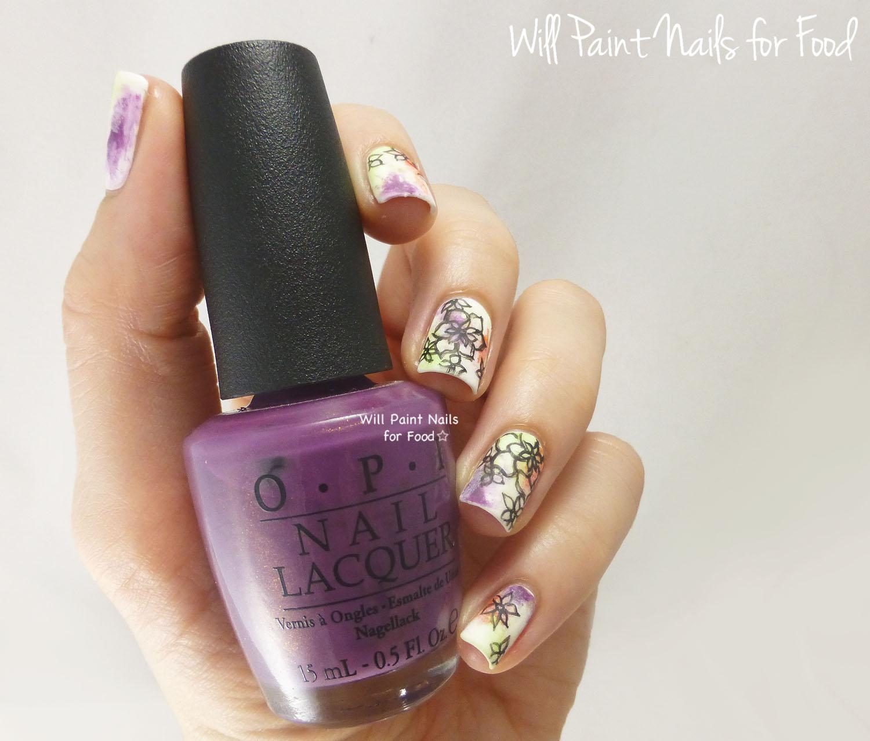 Abstract floral nail art