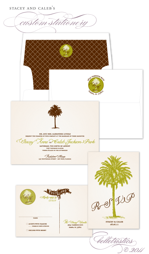 vintage palm tree key west printable DIY wedding invitation rsvp postcard