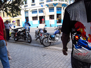 Santiago de Cuba street people motorcycles