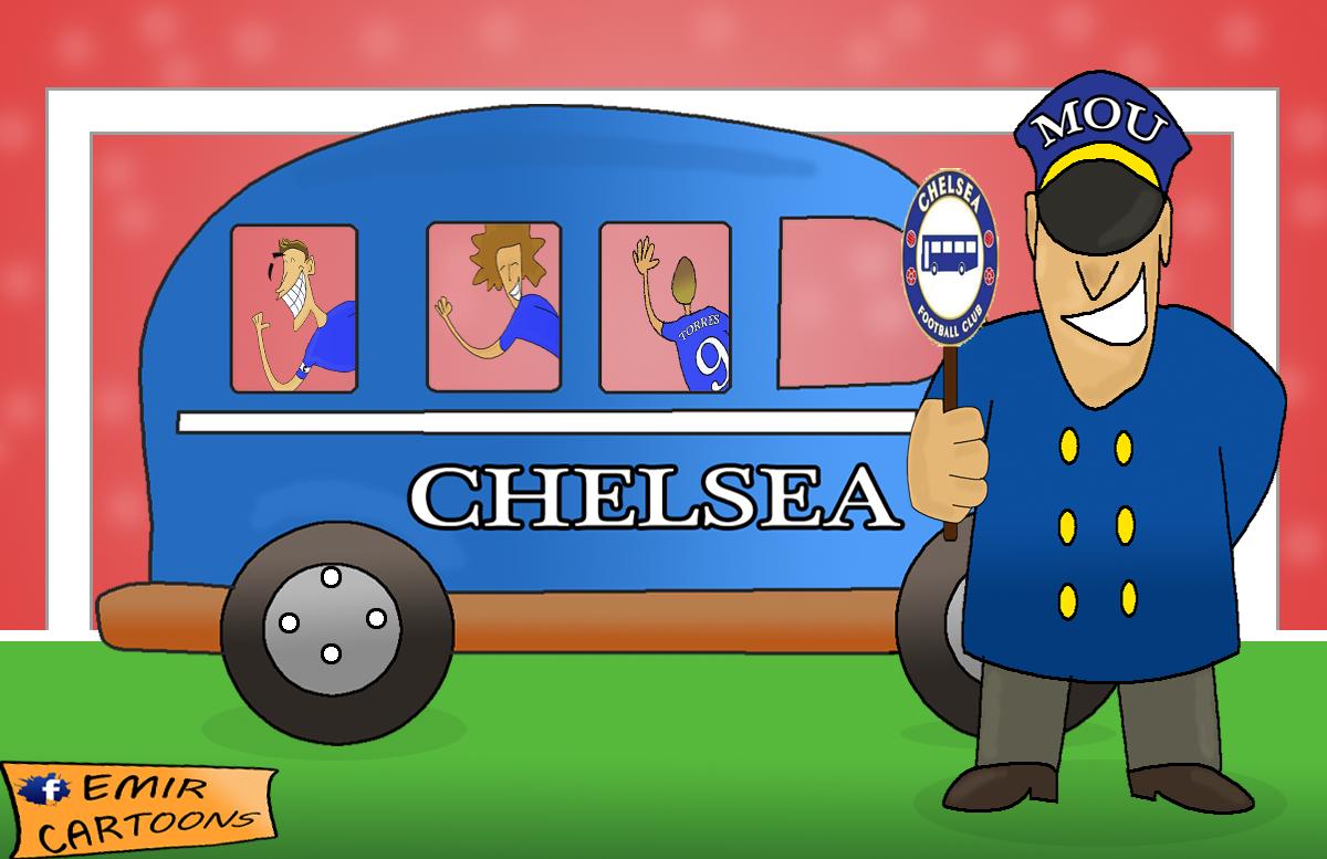 Lige Prvaka, Chelsea, Chelsea  bus, emir balkan cartoons, omar momani cartoons, fudbal karikature, karikatura dana, Chelsea BUS tactics, chelsea tactics,