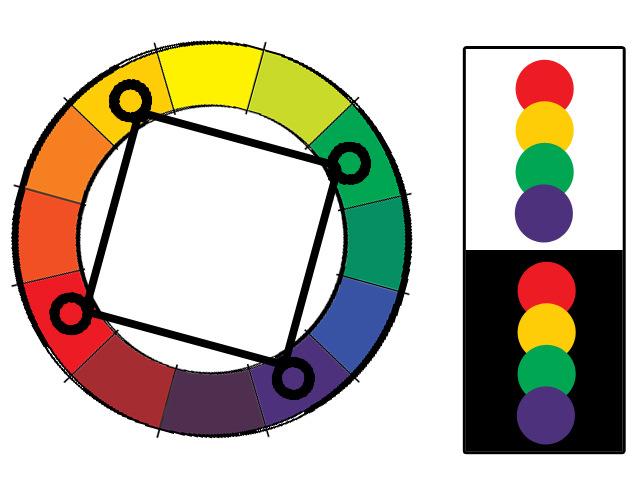 Square Color Scheme It Is Similar To The Rectangle But With All Four Colors Spaced Evenly Around Circle