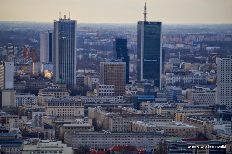 wieżowce Śródmieście Warszawa miasto z lotu ptaka panorama miasta stolica