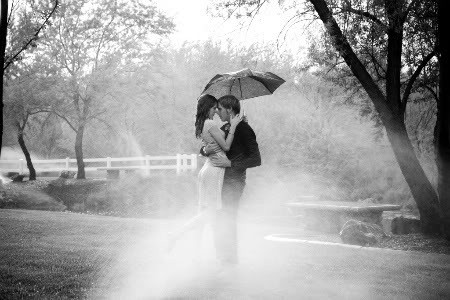 couple in rain