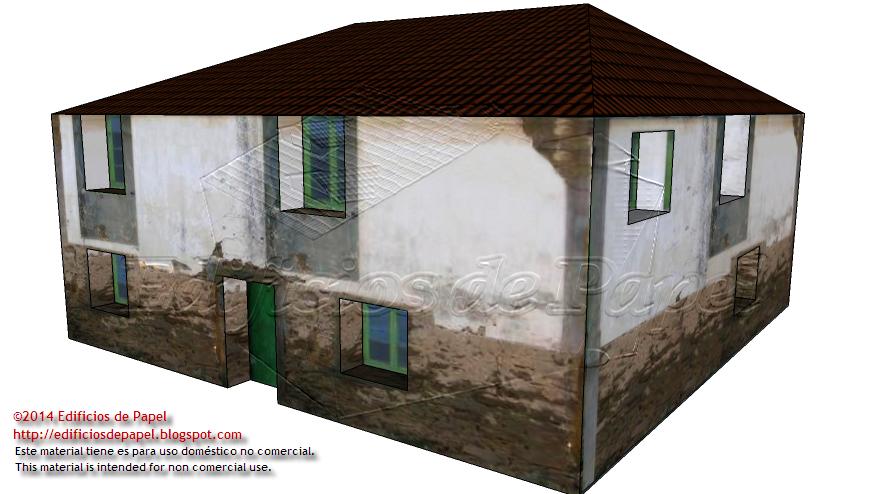 Fachadas lateral y posterior de la casita de papel