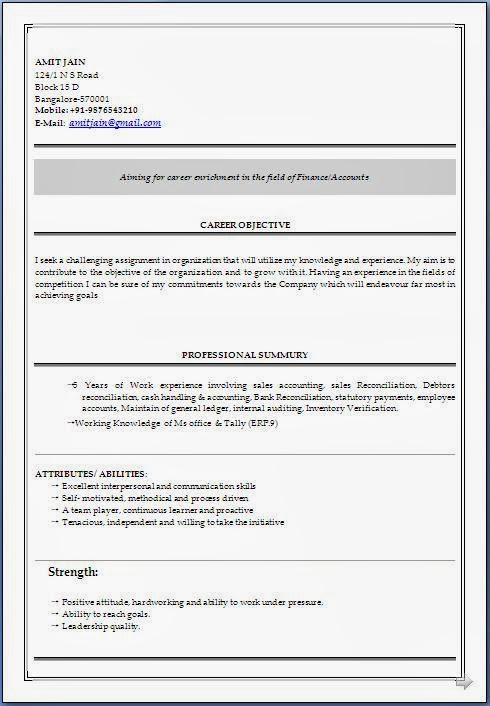 Sample Resume In Ms Word Format Free Download | Resume Format And