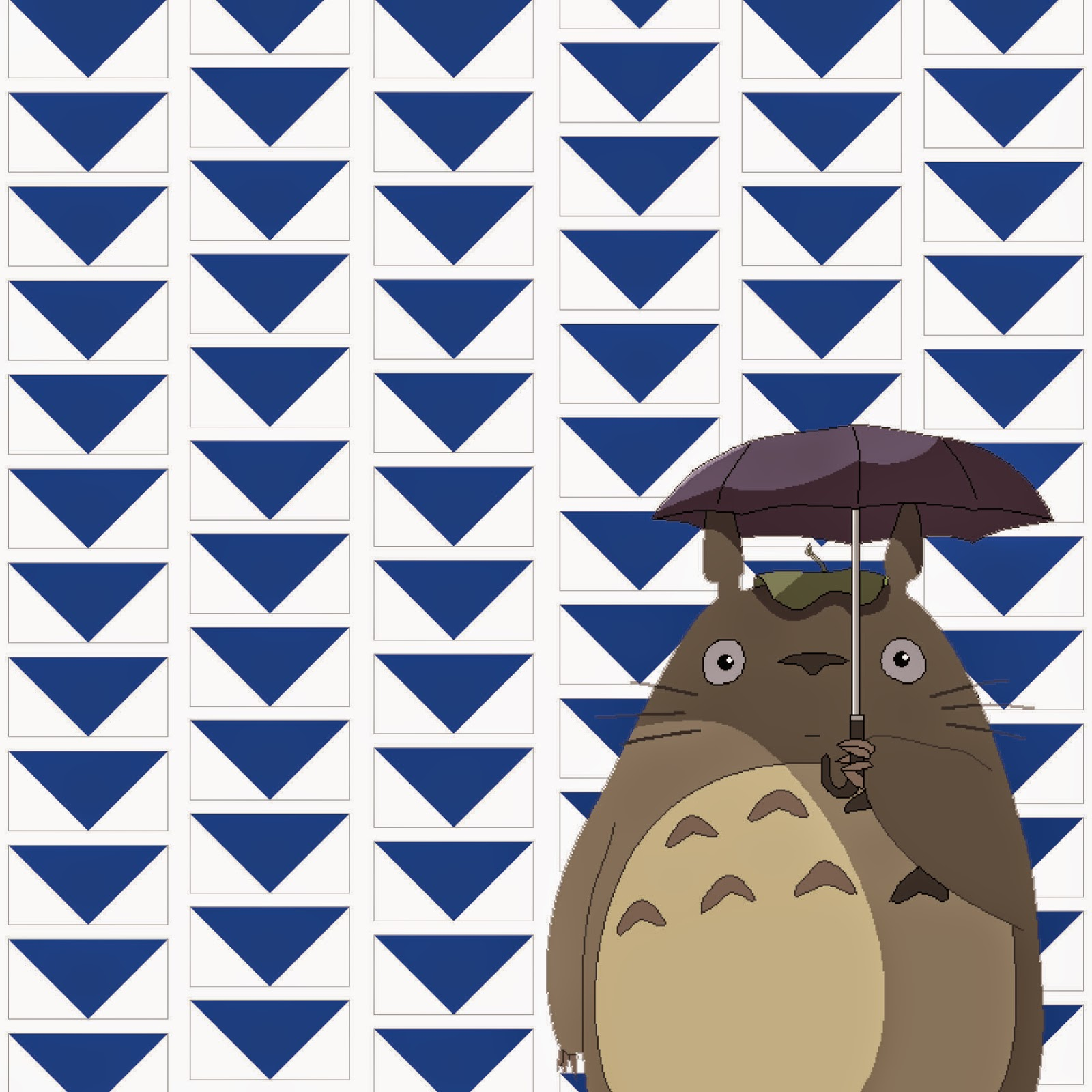 Totoro under flying geese blocks