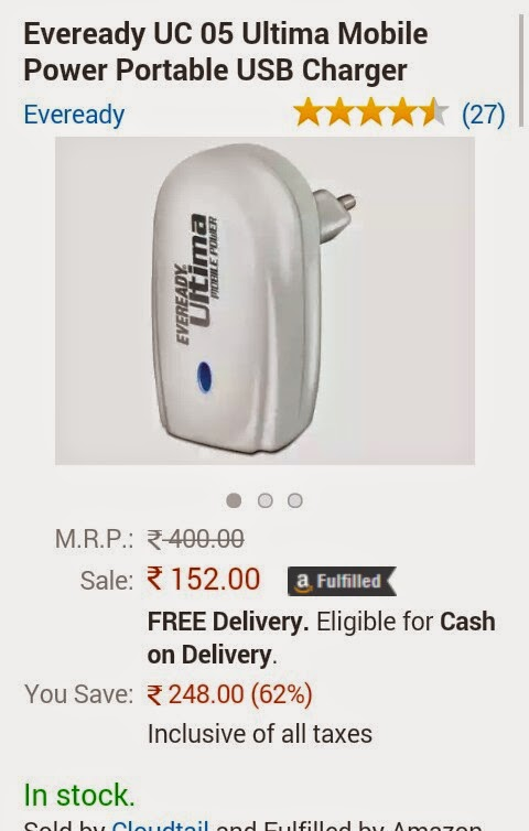 ( Hot ) Buy Eveready Portable USB Charger Worth 400 Rs For 152 only at amazon.in