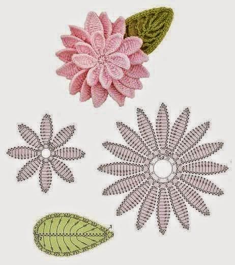 Hermosa flor con hoja al crochet