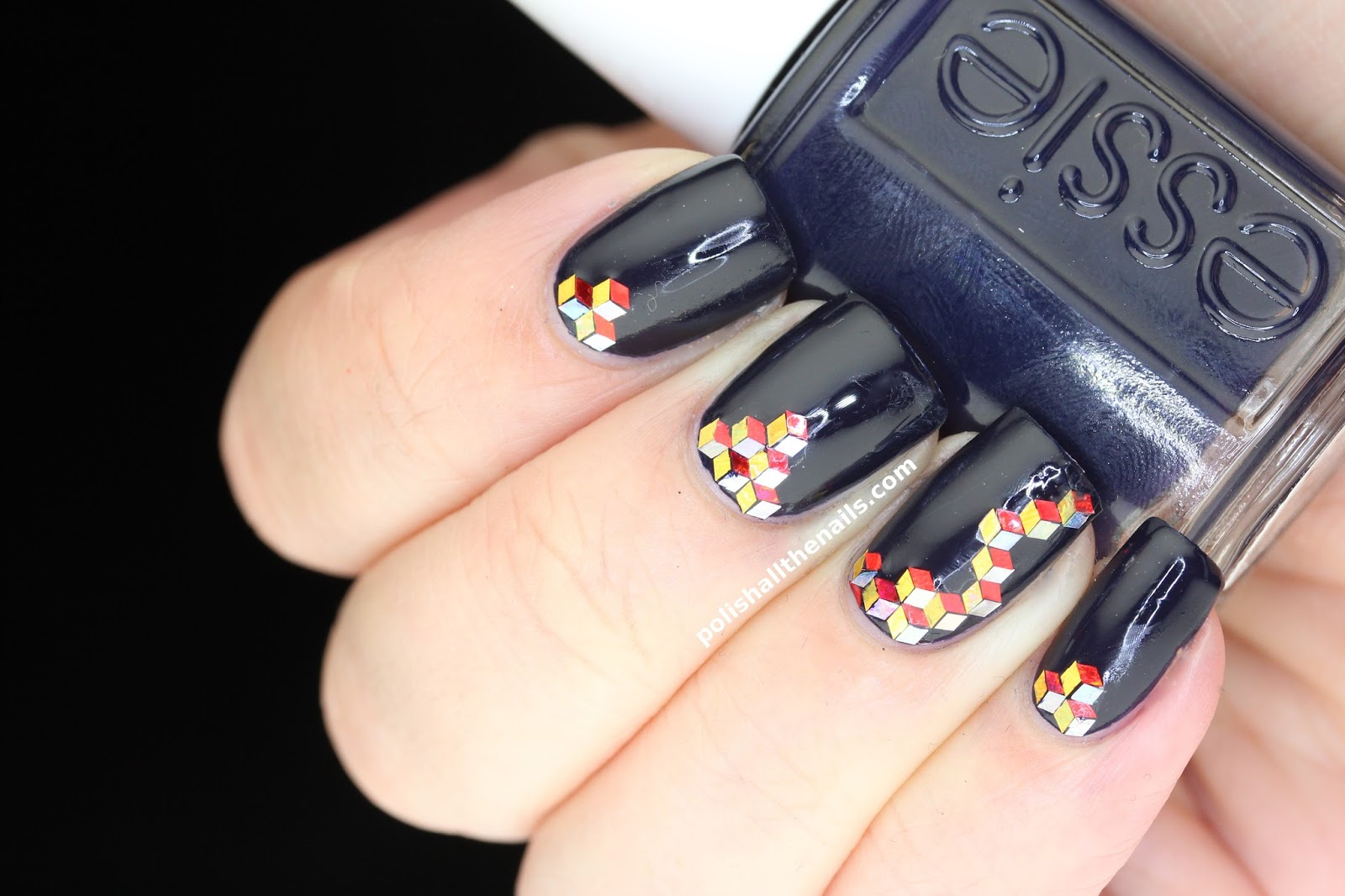 Nail Art Essie After School Boy Blazer With Red Gold And Silver 3d