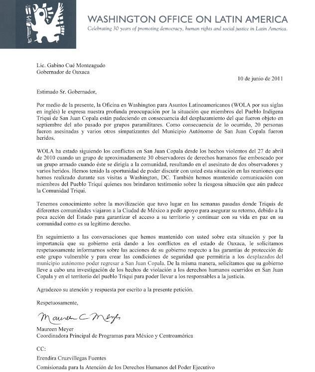 Carta de WOLA al gobernador Gabino Cué