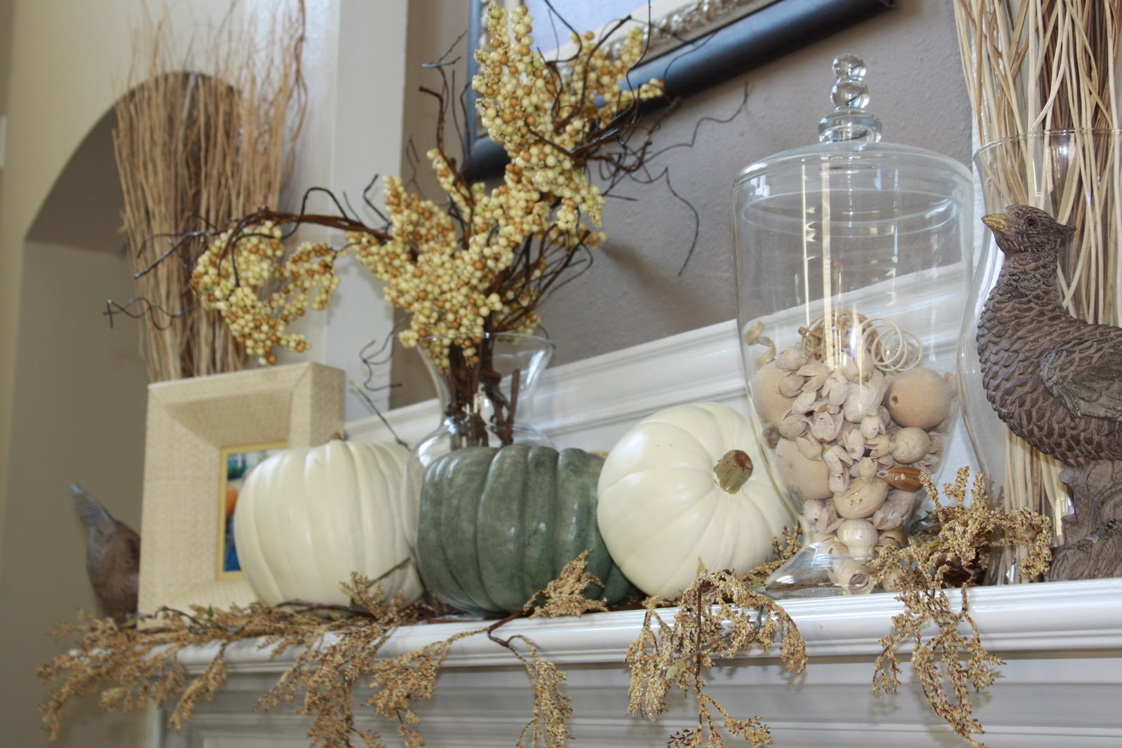 decor ography blue pumpkin fall mantel