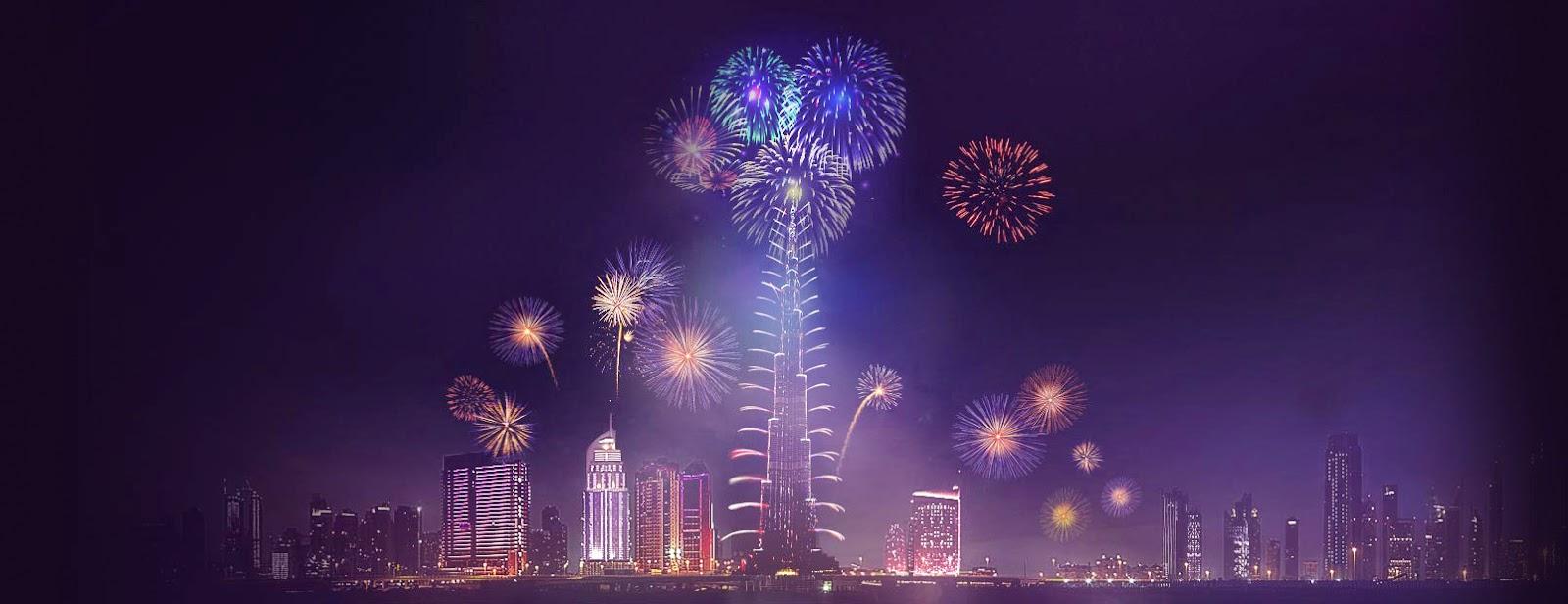 szilveszter, szilveszteri tűzijáték, 2015, Dubaj, Egyesült Arab Emírségek, Burzs Kalifa,