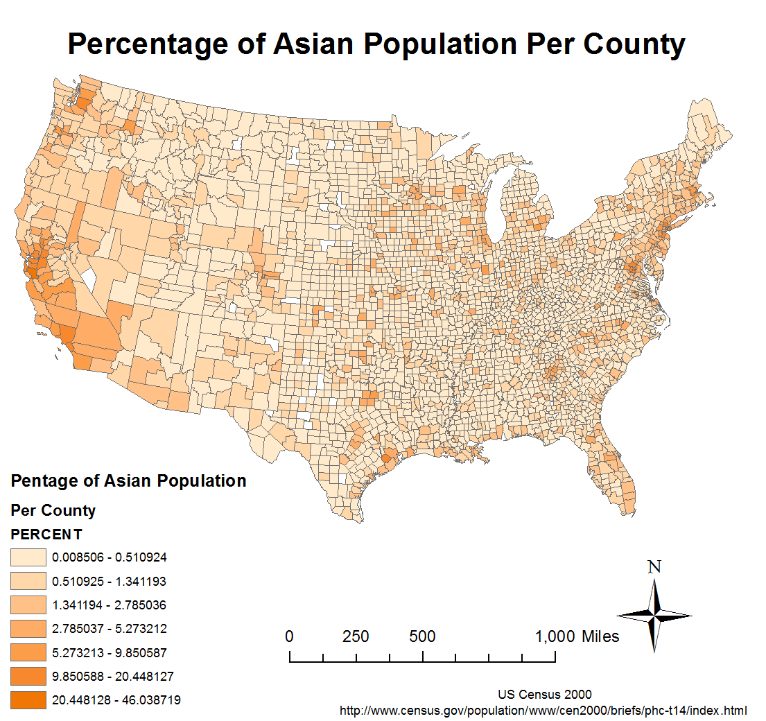this map shows the distribution of asian population in the same way as the previous map asian population is mostly concentrated at the west coast