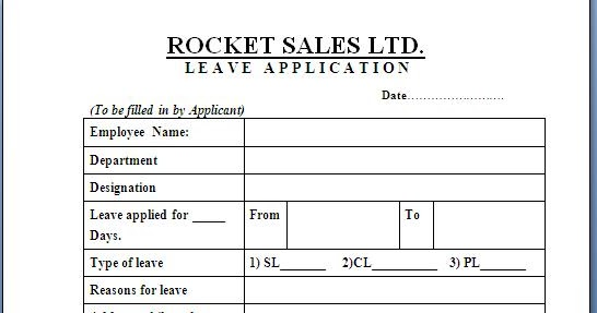Corporate Leave Application Format