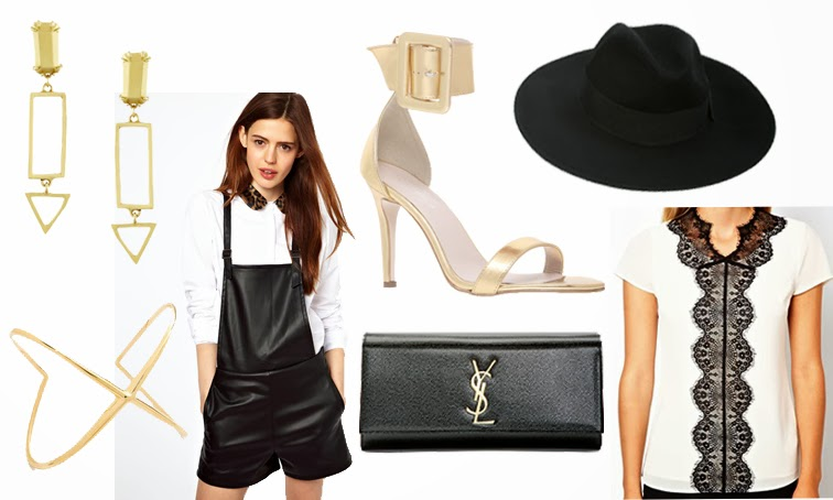NYE outfit leather overalls saint laurent clutch Kurt Geiger gold sandals Elizabeth & James northern star cuff