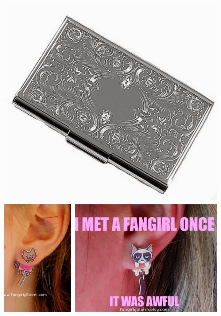 Etsy silver engraved business card case, Grumpy cat earrings, Nyan cat earrings, Etsy wishlist