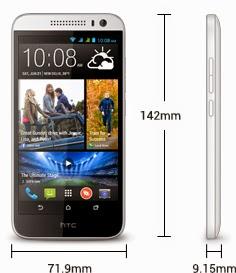 Dimensi HTC Desire 616 Dual SIM