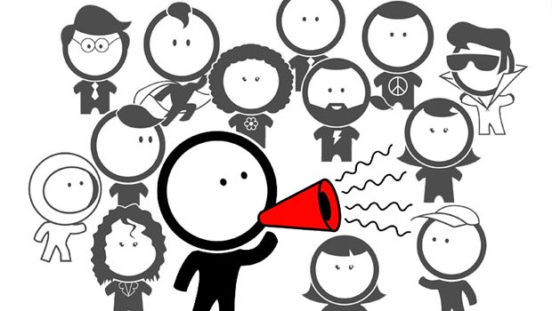 Stick man with megaphone shouting to his peers