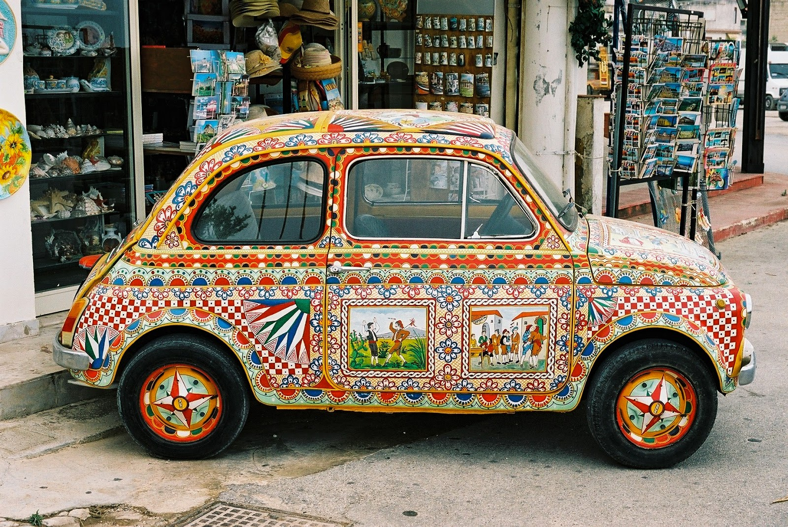 FIAT 500, SICILIAN CART DECORATION, FOLK ART, HAND PAINTED, LA CARRETTA, GIO PONTI, BAMBINO, SELINUNTE, GRECO ROMAN RUINS, SICILY, ELEGANT DECAY, TOURISM, AGRIGENTO, 2015 GENERAL ELECTION