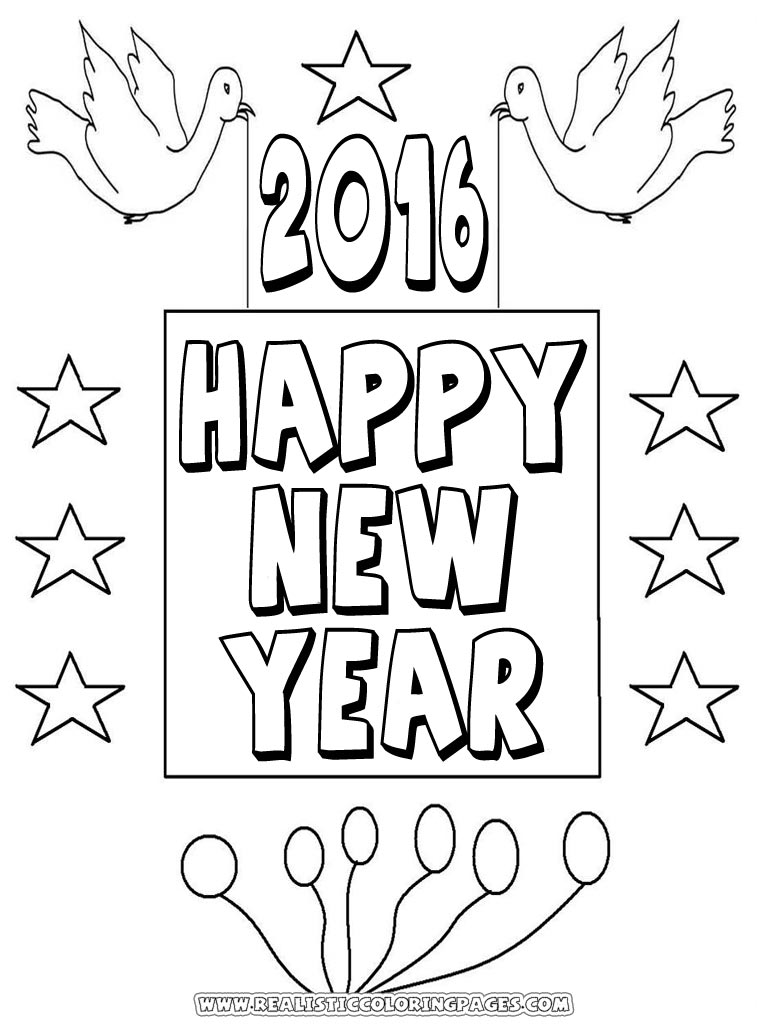 new years 2016 coloring book pages realistic coloring pages