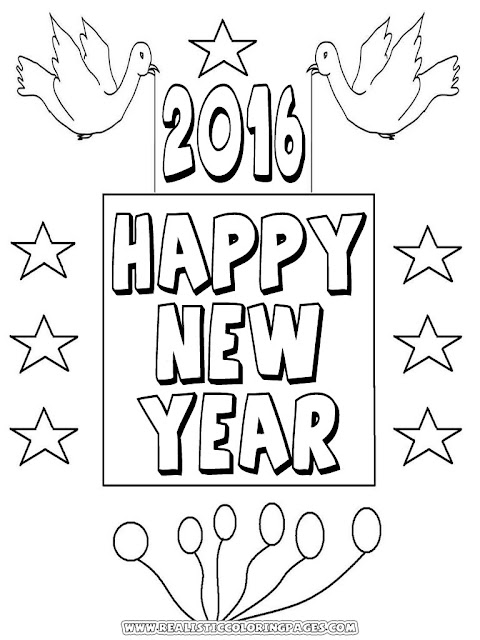 new years 2016 coloring book pages