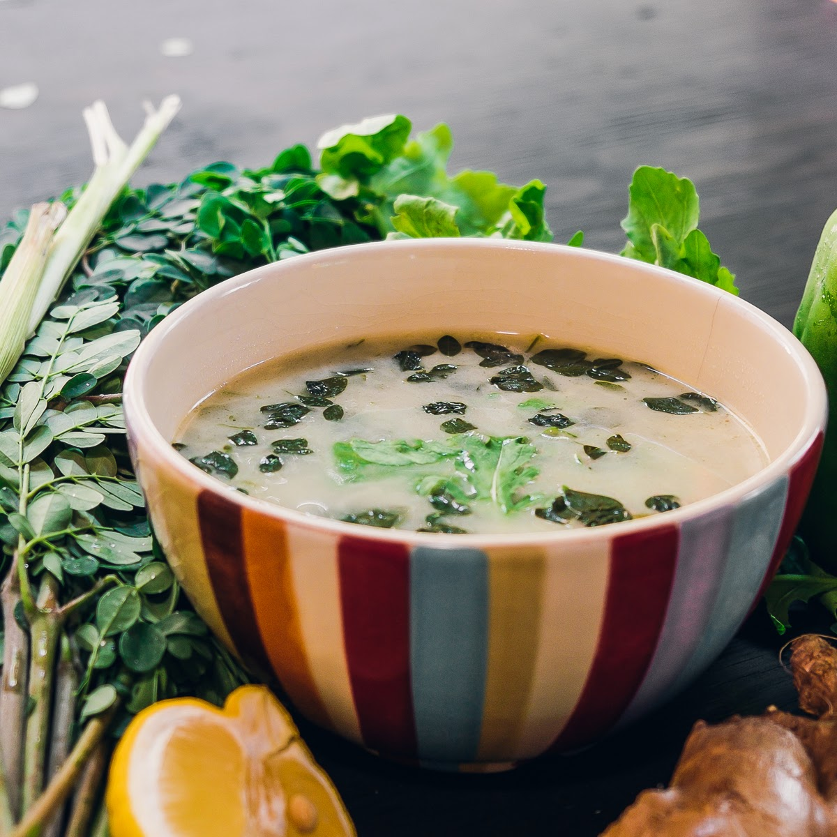 Green Soup | thumb in plum