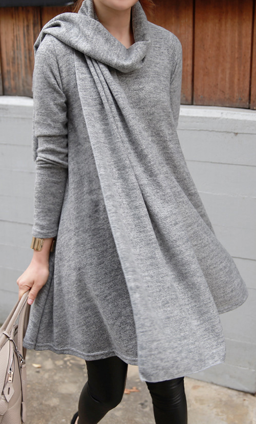 Flared Heathered Dress with Matching Scarf