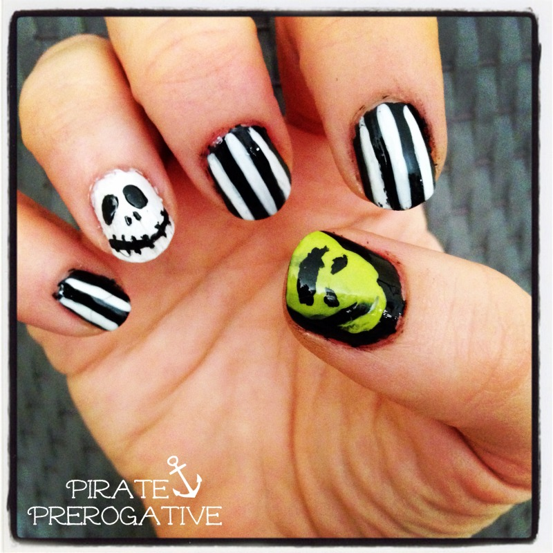 The Nightmare Before Christmas nails, totally doable for newbie nail artists.