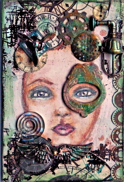 Scraps of Darkness scrapbook kits: Mixed media steampunk portrait canvas by Lisa Novogrodsk, created with our Sept. Tanya's Industrial Odyssey kit.