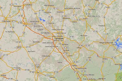 Mapa da região de Campinas