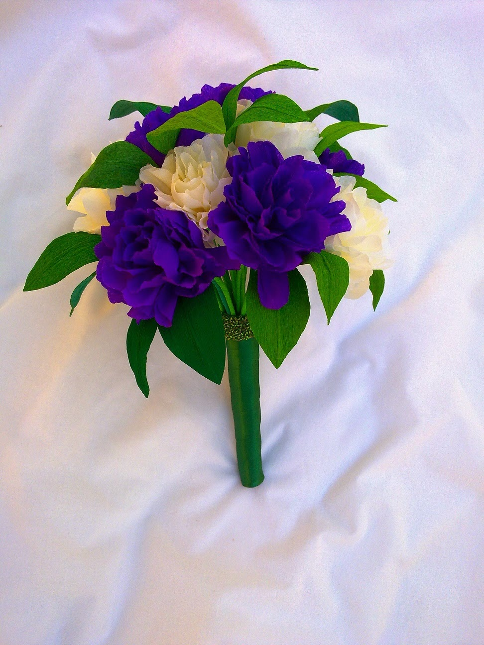 Crafty little Beanut!: Cream and Purple paper flower wedding bouquet