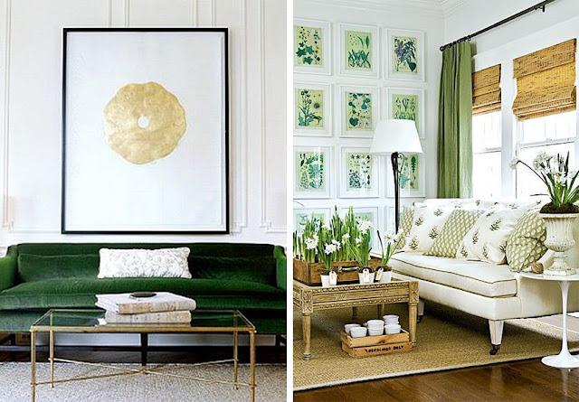 Sofá verde tapizado