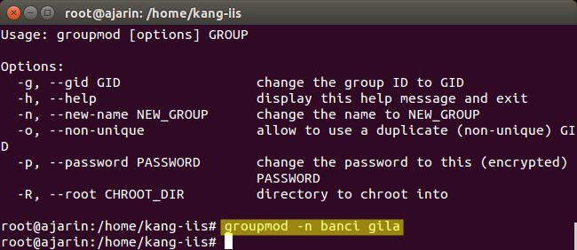 Perintah Linux - Fungsi groupmod