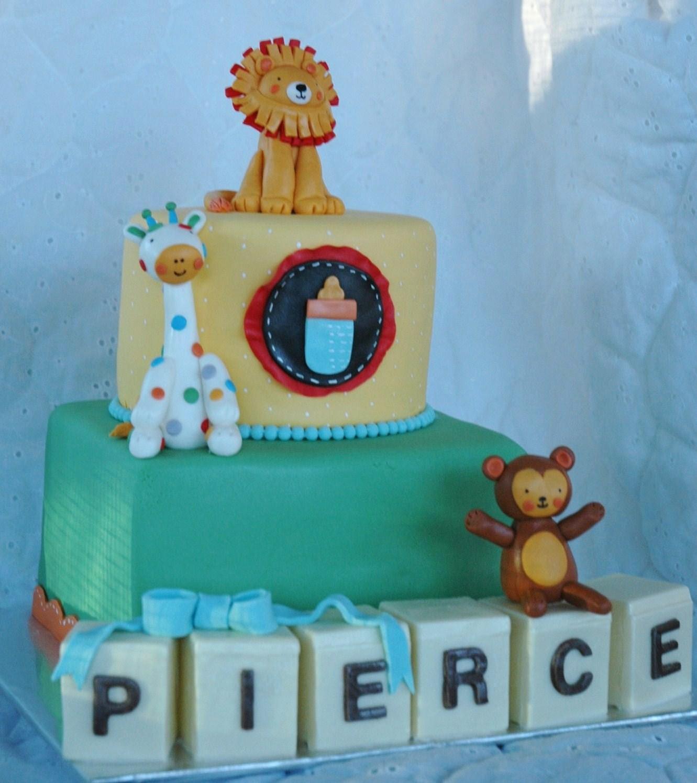 Taras Cupcakes Jungle animals baby shower cake