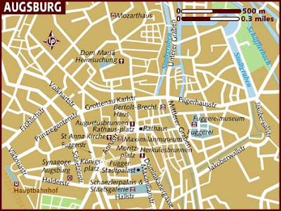 Augsburg Karte Stadt Region