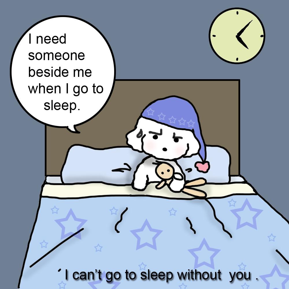 マンガで英会話 no 180 i need someone when i go to sleep