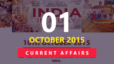 Current Affairs 1 October 2015