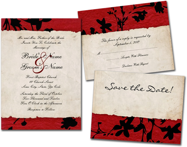 Red and Black Torn Paper Wedding Invitations