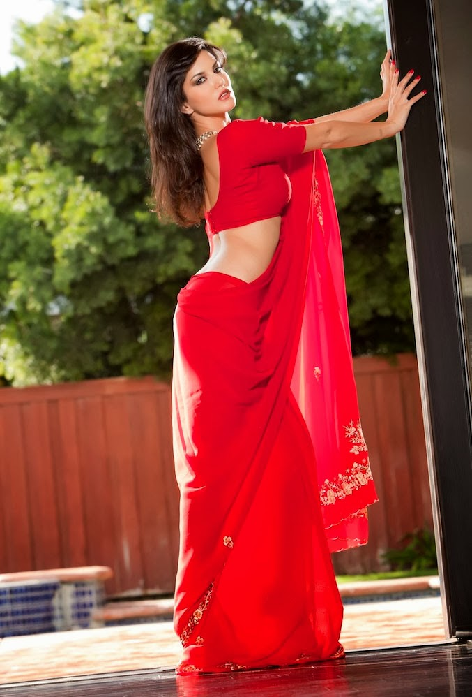 sunny leone in red sarees or red cloths images photos pictures
