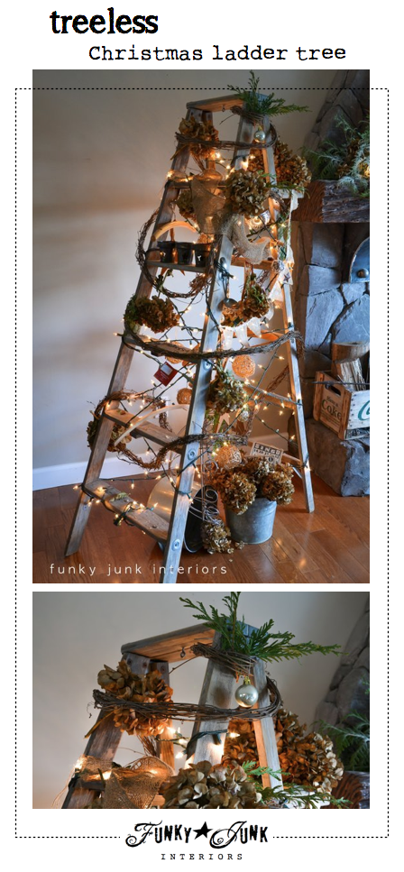 Treeless Christmas ladder tree via Funky Junk Interiors - visit to see it lit at night too!