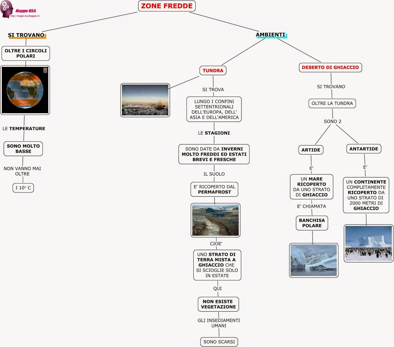 mappa schema dsa geografia zone fredde tundra artide antartide