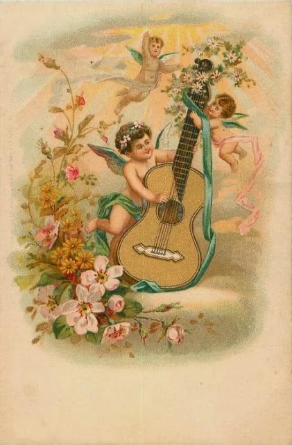 carte ancienne musique guitare ange